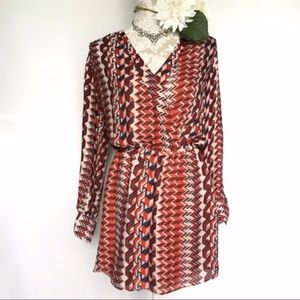 Parker // Red Print Drop Waist V Neck Dress